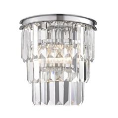 Tiered Crystal Sconce with 2 Lights Chrome