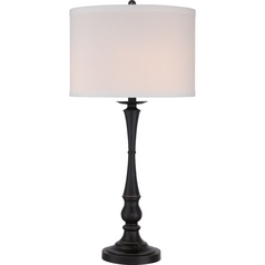 Quoizel Ambrose Palladian Bronze Table Lamp with Drum Shade