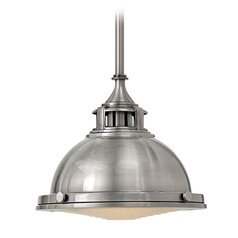 Hinkley Lighting Amelia Polished Antique Nickel Mini-Pendant Light with Bowl / Dome Shade