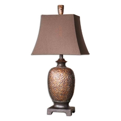 Table Lamp with Brown Shade in Distressed Bronze Finish