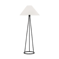Modern Floor Lamp with White Shade in Gloss Black Finish