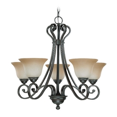 Chandelier with Beige / Cream Glass in Sudbury Bronze Finish