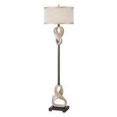 Floor Lamp with Beige / Cream Shade in Antique Silver Finish