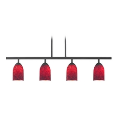Modern Island Light with Red Glass in Matte Black Finish