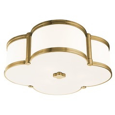 Chandler 3 Light Flushmount Light Clover Shaped Glass - Aged Brass