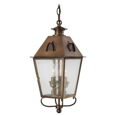 Outdoor Hanging Light with Clear Glass in English Brass Finish