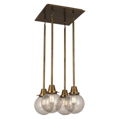 Robert Abbey Rico Espinet Buster Globe Aged Brass Multi-Light Pendant with Globe Shade