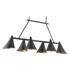 Currey and Company Culpepper French Black/contemporary Gold Leaf Island Light with Coolie Shade