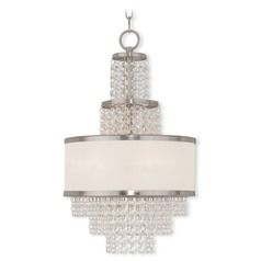 Livex Lighting Prescott Brushed Nickel Pendant Light with Drum Shade