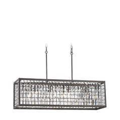 Elk Lighting Nadina Silverdust Iron Island Light with Rectangle Shade