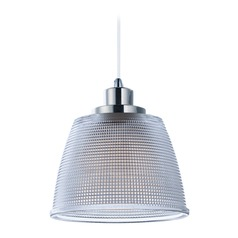 Farmhouse LED Mini-Pendant Light Prismatic Glass Polished Nickel Retro by Maxim Lighting