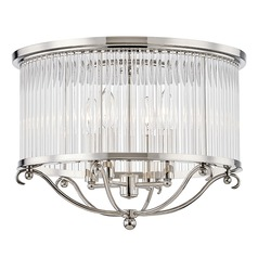 Hudson Valley Polished Nickel Semi-Flushmount Light with Clear Crystal Shade