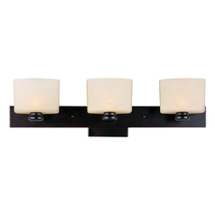 Maxim Lighting Modern Bathroom Light with White Glass in Oil Rubbed Bronze Finish 9003DWOI