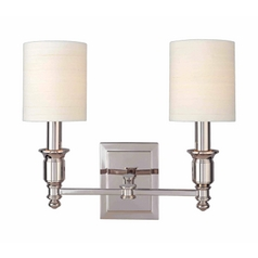Sconce Wall Light with White Shades in Aged Brass Finish
