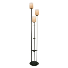 Modern Floor Lamp with Amber Glass in Dark Bronze Finish
