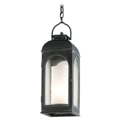 Outdoor Hanging Light with Clear Glass in Antique Iron Finish