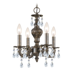 Crystal Mini-Chandelier in Venetian Bronze Finish
