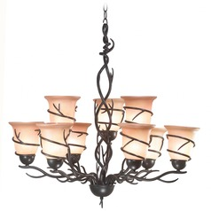 Chandelier with Amber Glass in Bronze Finish