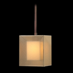 Fine Art Lamps Quadralli Rich Bourbon with Golden Mist Highlights Mini-Pendant Light with Square Sha