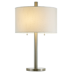 Modern Table Lamp with White Shade in Satin Steel Finish