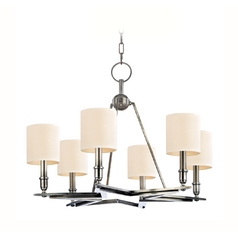 Chandelier with Beige / Cream Paper Shades in Aged Silver Finish