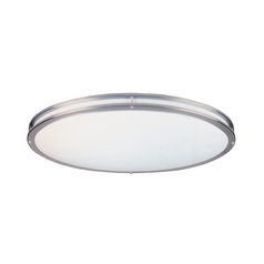 Flushmount Light with White in Satin Nickel Finish