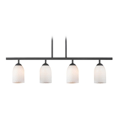 Modern Black Linear Pendant Light with White Glass 4 Lt