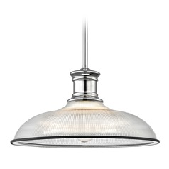 Industrial Prismatic Pendant Light Chrome / Black 14.38-Inch Wide