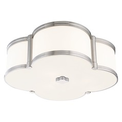 Chandler 3 Light Flushmount Light Clover Shaped Glass - Polished Nickel