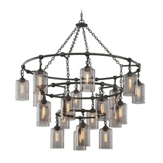 Troy Lighting Gotham Aged Silver Pendant Light with Cylindrical Shade