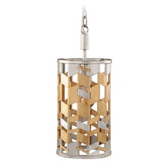 Kalco Broadway Jewel Metallic Mini-Pendant Light with Cylindrical Shade
