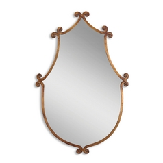 Mirror in Antiqued Gold with Burnished Edges
