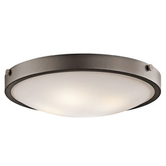 Kichler Modern Flushmount Light with White Glass in Olde Bronze Finish