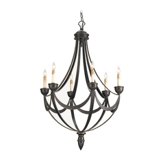 Modern Chandelier in Bronze Gold Finish