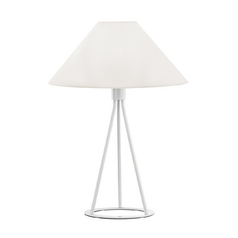 Modern Table Lamp with White Shade in Gloss White Finish