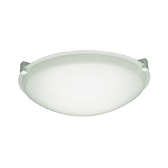 Modern Flushmount Light with White Glass in Polished Chrome Finish