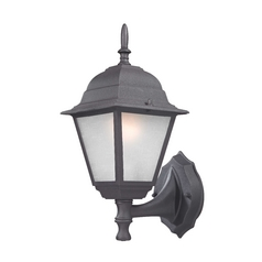 Black Outdoor Wall Light with White Frosted Glass - 14-1/4-Inches Tall