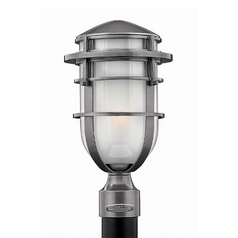 Modern Post Light with White Glass in Hematite Finish