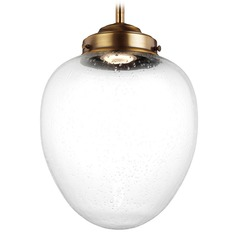 Feiss Lighting Alcott Aged Brass LED Mini-Pendant Light with Oval Shade