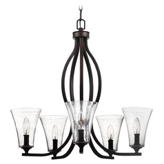 Seeded Glass Chandelier Oil Rubbed Bronze Feiss Lighting