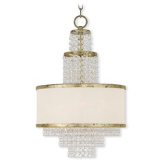 Livex Lighting Prescott Hand Applied Winter Gold Pendant Light with Drum Shade