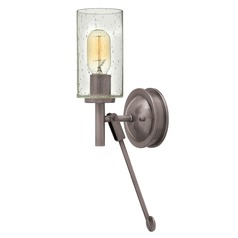 Industrial Seeded Glass Wall Sconce Antique Nickel by Hinkley Lighting