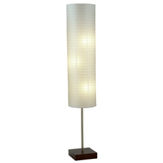 Modern Floor Lamp with White Paper Shades in Walnut Finish