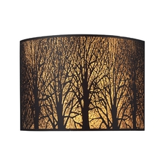 Sconce Wall Light with Amber Glass in Aged Bronze Finish