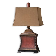 Table Lamp with Brown Shade in Aged Red Finish