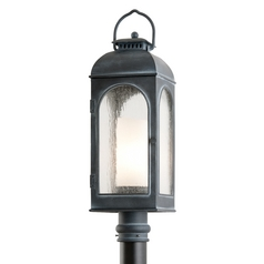 Post Light with Clear Glass in Antique Iron Finish