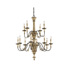 Chandelier in Ivory Brown/ Sicilian Gold Leaf Finish