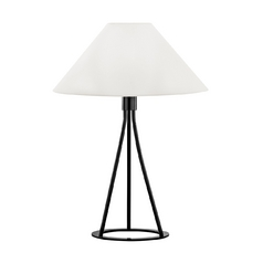 Modern Table Lamp with White Shade in Gloss Black Finish