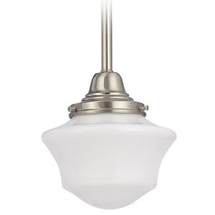 6-Inch Schoolhouse Mini-Pendant Light in Satin Nickel Finish
