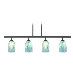 Black Linear Pendant Light with Turquoise Art Glass 4 Lt